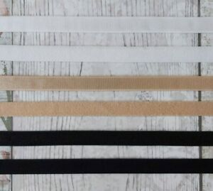 White, Beige, Black Plush Elastic 10-11mm Wide (Bra Straps Lingerie Underwear)
