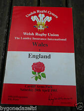 WALES v ENGLAND - SAT 20th APRIL 1985 RUGBY PROGRAMME