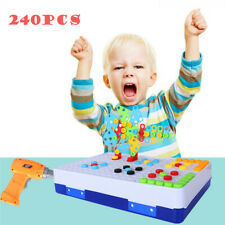 240pcChildren Diy Electric Drill Screw Puzzle Educational Creative Tool Kit Toy