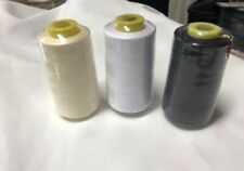3 Spools 6,000 Yards Each Quality Sewing Thread Polyester Machine, White,Blk,Crm