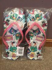 NWT VERA BRADLEY Cuban Stamps Pink Stripe Flip Flops Sandals Medium 7 - 8