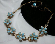 Vintage Gold Coro Blue Floral Flower Rhinestone Spring Lucite Collar Necklace