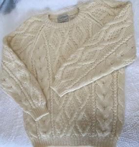 Hand Knit Aran Sweater-100% Wool-Vintage American Eagle-Irish Fisherman-Men's L