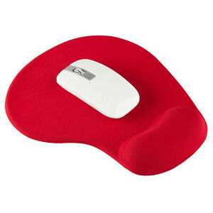 RED ANTI-SLIP MOUSE MAT PAD WITH FOAM WRIST SUPPORT PC & LAPTOP ~UK SELLER~