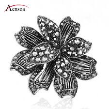 Plant Brooch Pins Women Jewelry Retro Brooches Black Rhinestone Alloy Flower