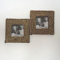 2 x Mediterran Bilderrahmen Wechselbilderrahmen Holz Sisal ca. 13 x 13 cm außen
