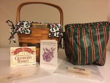 Longaberger Christmas Collection 1995 Cranberry Basket, 2 Liners, and protector