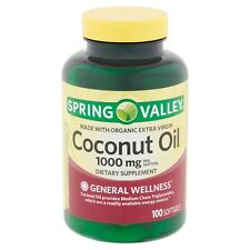 Spring Valley Coconut Oil Softgels, 1000mg, 100 Count