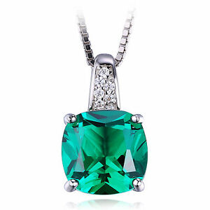 """3ct Luxury Emerald Pendant 18"""" Necklace Solid Sterling Silver Special Gift"""