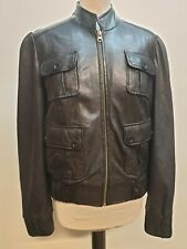 B622 MENS M&S BLACK LEATHER FITTED MOTORCYCLE STYLE JACKET UK S 36 EU 46
