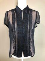 Ann Taylor Loft Womens Button Down Top Blouse Size 8 Navy Sheer Ruffle Paisley