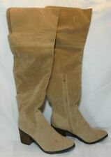 Taupe Tan Colored Suede-Like Over The Knee Boots with Ankle Zip Women's Size 9 M