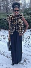New Custom Designer Sable brown color Raccoon Fur tails Vest coat jacket S 0-6