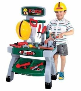 CHILDRENS BOYS TOY WORK BENCH WITH 45+ TOOLS HARD HAT ROLE PLAY BUILDERS SET 881