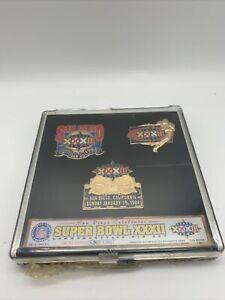 Super Bowl XXXII Commemorative 3 Pin Set Limited Edition 800/5000 January 1998