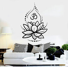 Vinyl Wall Decal Lotus Flower Yoga Hinduism Hindu Om Symbol Stickers (ig4625)