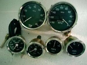 Smiths 52mm Kit- Temp + Oil + Fuel + Amp Gauge+ Speedometer +Tachometer Replica