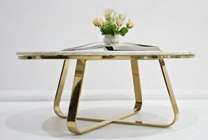 Roza Stainless Steel Or Gold Coffee Table W/ White Marble Top