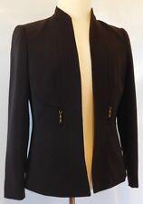 TAHARI ASL Womens Dark Brown Boyfriend Cut Style Blazer Jacket Coat Size 8