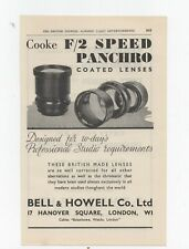 1947 Print ad COOKE COATED LENSES, BELL & HOWELL + Walter Lighting 18.5cm x 12cm
