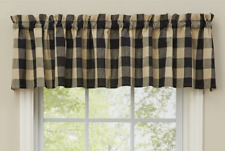 "Park Designs WICKLOW BLACK and Tan Buffalo Check Unlined Window Valance 72""x14"""