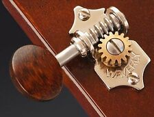 Waverly #4091 guitar tuners, solid peghead, nickel, snakewood oval knob