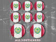 8 x 3D ROUND Resin Domed Flag Raleigh - USA Adhesive Decal Vinyl
