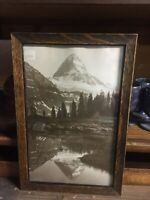 Antique Tiger Oak Picture Frame Snow Capped Mountain Mirrored  8 X 12""