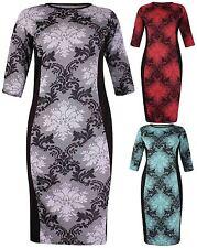 Womens Floral Jacquard Print Ladies Stretch Tunic Long Midi Dress Top Plus Size