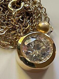 Diamonique @ QVC gold on sterling silver CZ stone pendant & 925 chain necklace