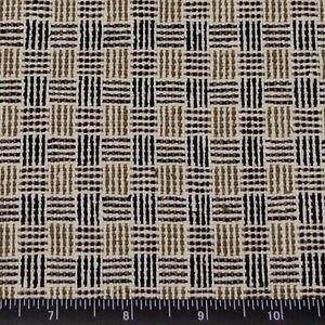 "Cream Matka Black/Brown Checks 100% Raw Silk Fabric, 44"" Wide, By Yard (WT-261)"