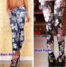 Tight Pants Sexy Black Rose Flower Graffiti Soft Stretch Leggings Fashion Women