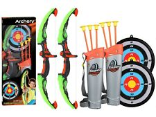 2 Pack Set Kids Archery Bow Arrow Toy Set with Targets,  LED Arrows Toy Set