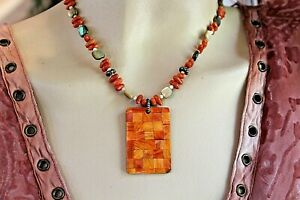 """SILPADA OXIDIZED 925, RED SPOUNGE CORAL,MOSAIC PENDANT NECKLACE 118"""" #N1260"""
