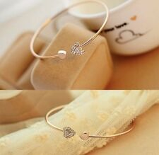 Fashion Luxury Boho Style Boutique Uk Gold Crystal Bling Bangle Heart Bracelet