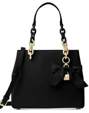 New Michael Kors Cynthia Small North South Satchel leather black bag bow