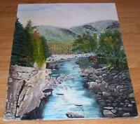 VINTAGE WHITE MOUNTAINS LANDSCAPE NEW HAMPSHIRE KANGAMAGUS HIGHWAY OIL PAINTING