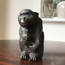 More details for delightful antique bronze figurine of a monkey & baby, japanese meiji