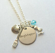 """Mermaid necklace """"Dinglehopper """" necklace jewelry crystals  ships From USA"""