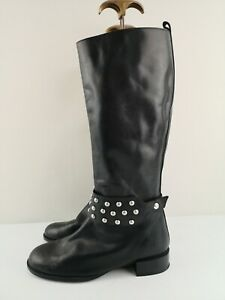 ZARA WOMEN Ladies Mid Calf/Knee High Heel Boot Black Leather Size 6 39