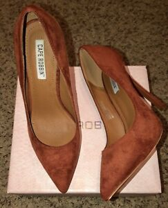 "Rust Brown Vegan Suede Pointy Toe Pump Shoe 5"" Stiletto High Heels Size 7.5"