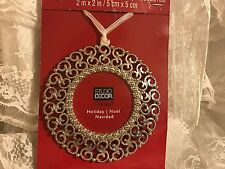 Christmas Tree Ornament Silver Filigree Photo Picture Frame Decoration
