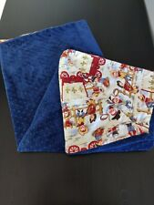 """Baby Blanket Handmade Blue with Little Cowboys Print 40""""X32"""""""