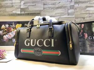 100% AUTHENTIC NEW Large Black Gucci Logo Travel Bag Duffle 547838