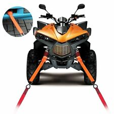 Soft Loop Tie Down Strap for Towing Cargo ATV UTV Motorcycle Snowmobile Orange