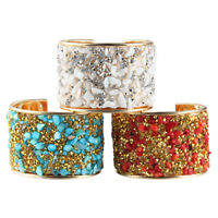 Women's Handmade Natural Stone&Crystal Wide Open Cuff Bangle Bracelet Gifts