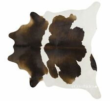 Chocolate & White Cowhide Cow Hide Area Rugs Leather Size LARGE