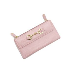 Buxton Equestrian Chic Wallet RFID-Blocking Pink Gold Horse Bit Double Zipper