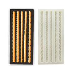 Molde de cuerda de tejer de silicona para fondant pastel de chocolate para hornear Topper Molde de frontera