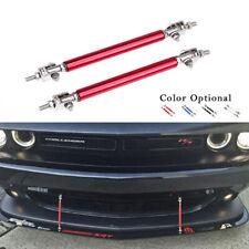 2Pc Red Adjustable Car Front Bumper Lip Splitter Rod Strut Tie Support Bar Kit